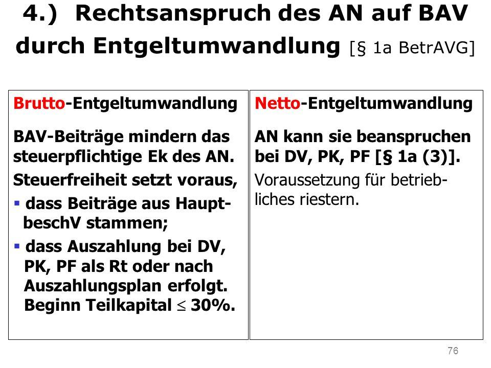 4.) Rechtsanspruch des AN auf BAV durch Entgeltumwandlung [§ 1a BetrAVG]